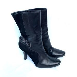 Cole Haan Black Leather Suede Pointed Heeled Boots